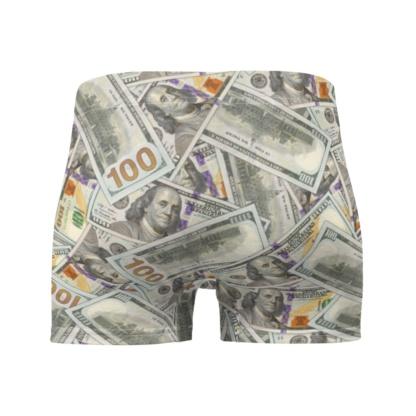 100 Dollar Bills Money Boxer Briefs Underwear Currency Bling Rich