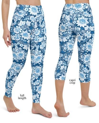 Blue Floral Porcelain Yoga Leggings Pants women ladies