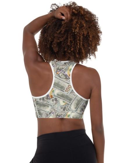 100 Dollar Bill Money Sports Bra