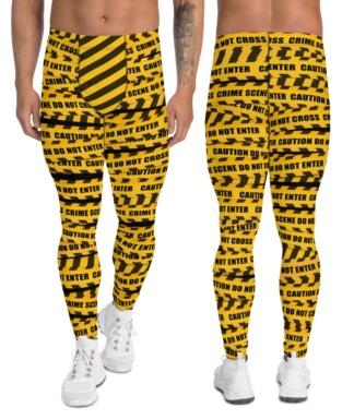 Warning danger crime scene Caution Tape Men's leggings